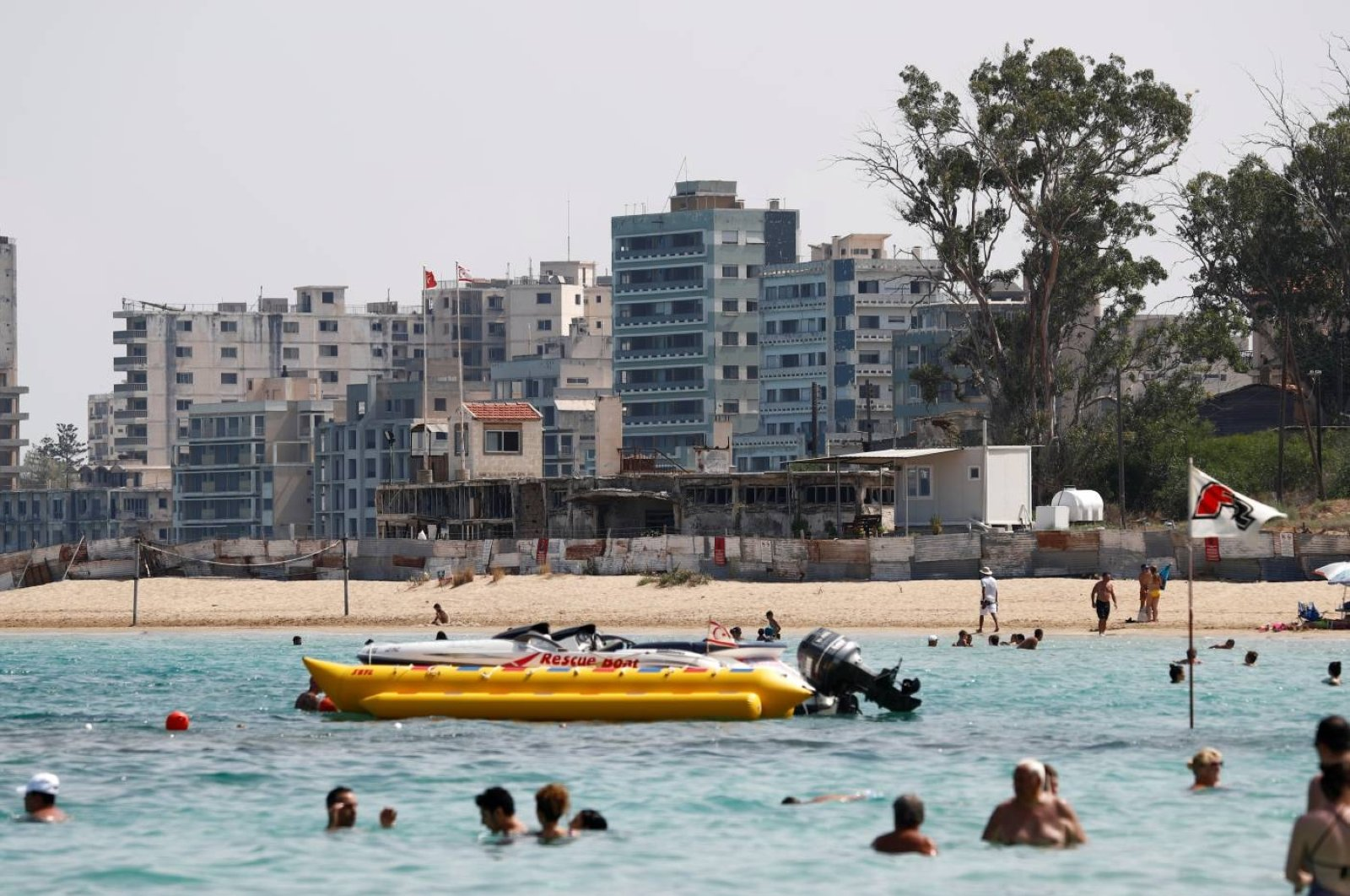 Varosha, an area fenced off since the 1974 division of Cyprus, is seen from a beach in Gazimağosa (Famagusta), Turkish Republic of Northern Cyprus, Aug. 5, 2019. (Reuters Photo)