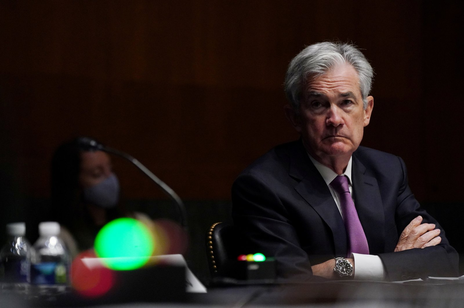 U.S. Federal Reserve Chairman Jerome Powell listens during the Senate Committee on Banking, Housing and Urban Affairs hearing examining the quarterly CARES Act report to Congress, in Washington, D.C., U.S., Sept. 24, 2020. (Reuters Photo)