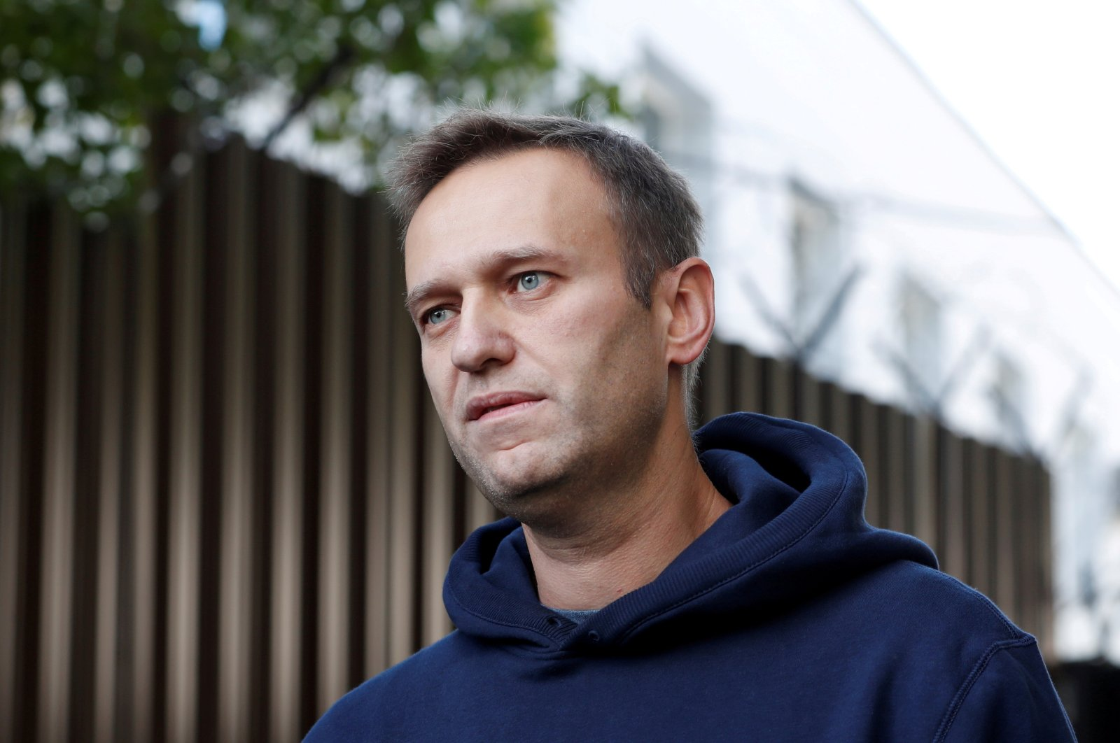 Russian opposition leader Alexei Navalny speaks with journalists after he was released from a detention center, Moscow, Aug. 23, 2019. (REUTERS Photo)