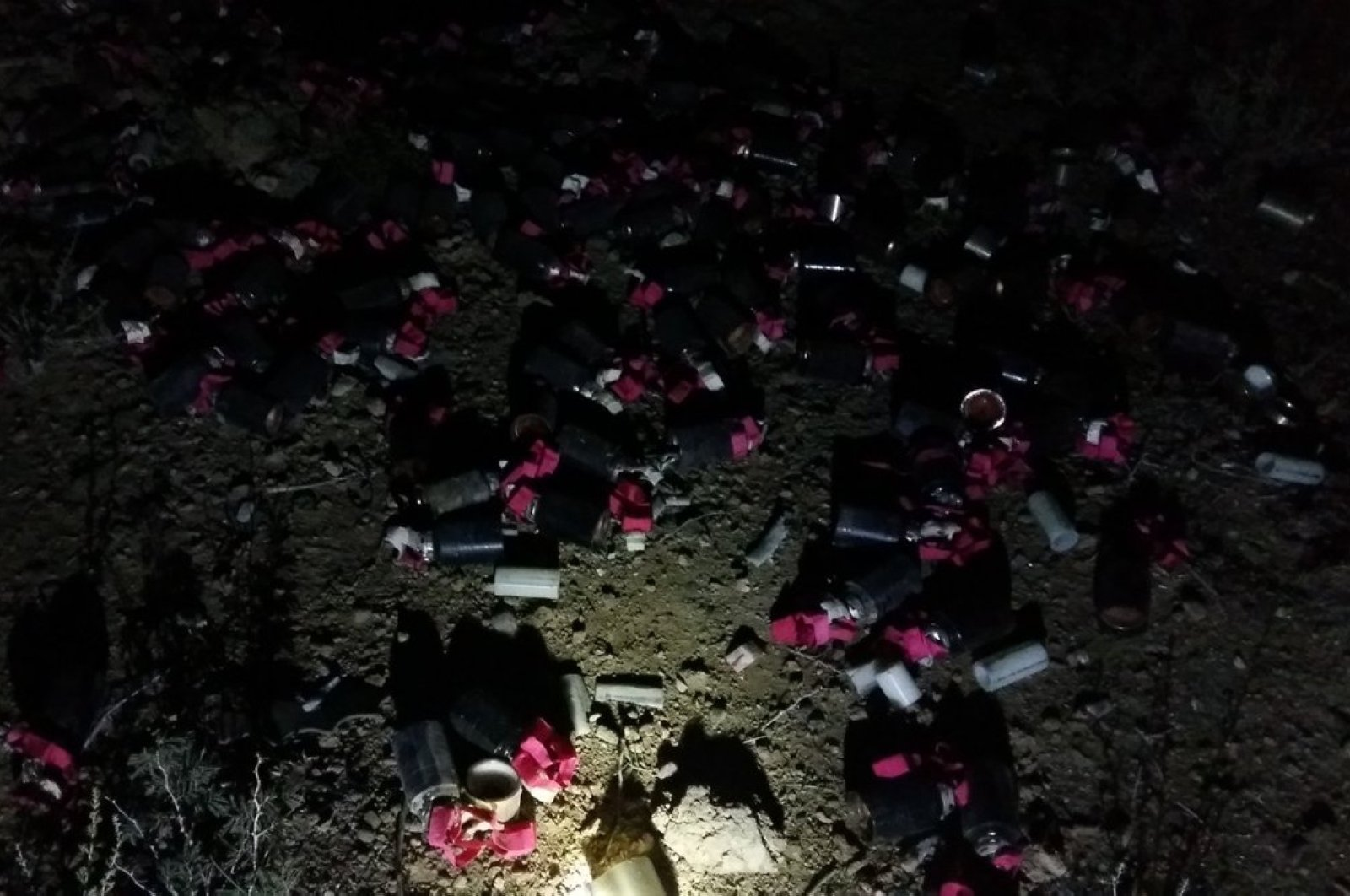 The image shared by Hajiyev on Twitter shows the cluster bomblets after explosion in Azerbaijan's Goranboy district on Oct. 6, 2020 (Photo taken from Twitter)