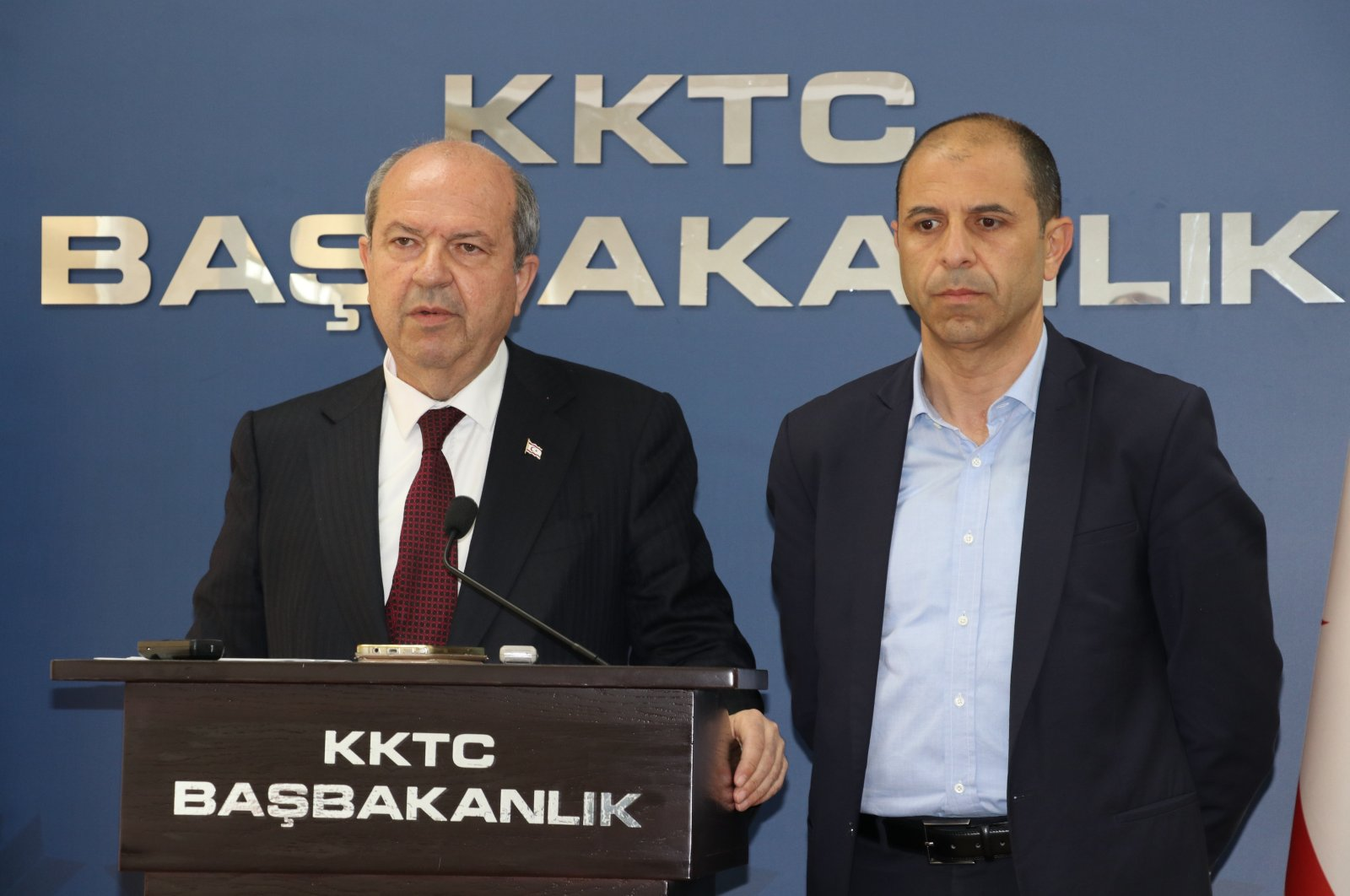 TRNC PM Ersin Tatar (Left) speaks at a news conference with Deputy PM and FM Kudret Özersay in the capital Lefkoşa (AA File Photo)