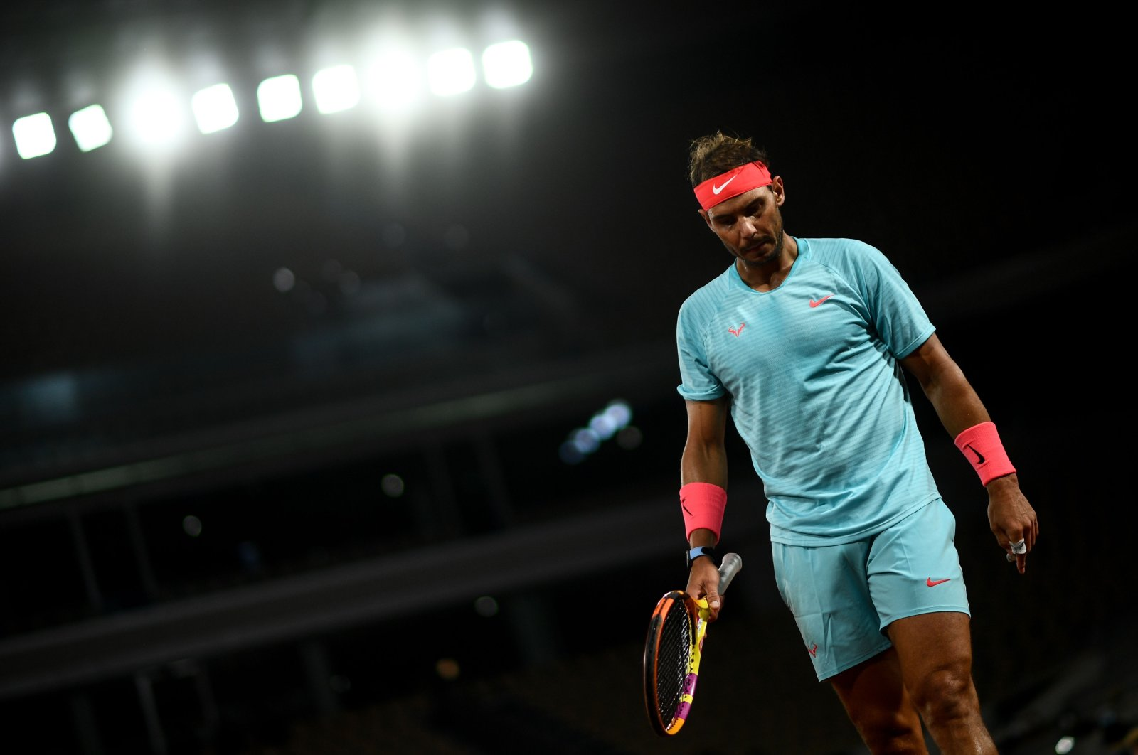 Rafael Nadal reacts during the French Open quarterfinal match against Jannik Sinner, in Paris, France, Oct. 6, 2020. (AFP Photo)