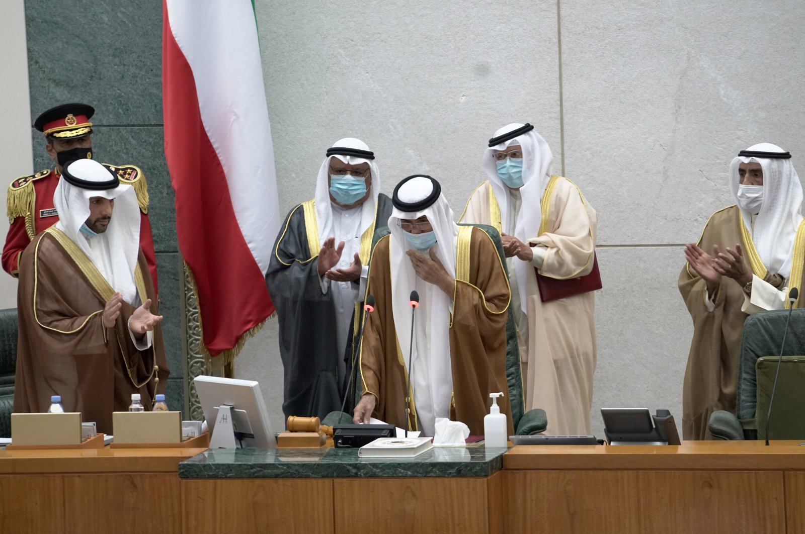 Kuwait's new Emir Nawaf Al Ahmad Al Sabah takes the oath of office at the parliament, Kuwait City, Kuwait, Sept. 30, 2020. (Reuters Photo)