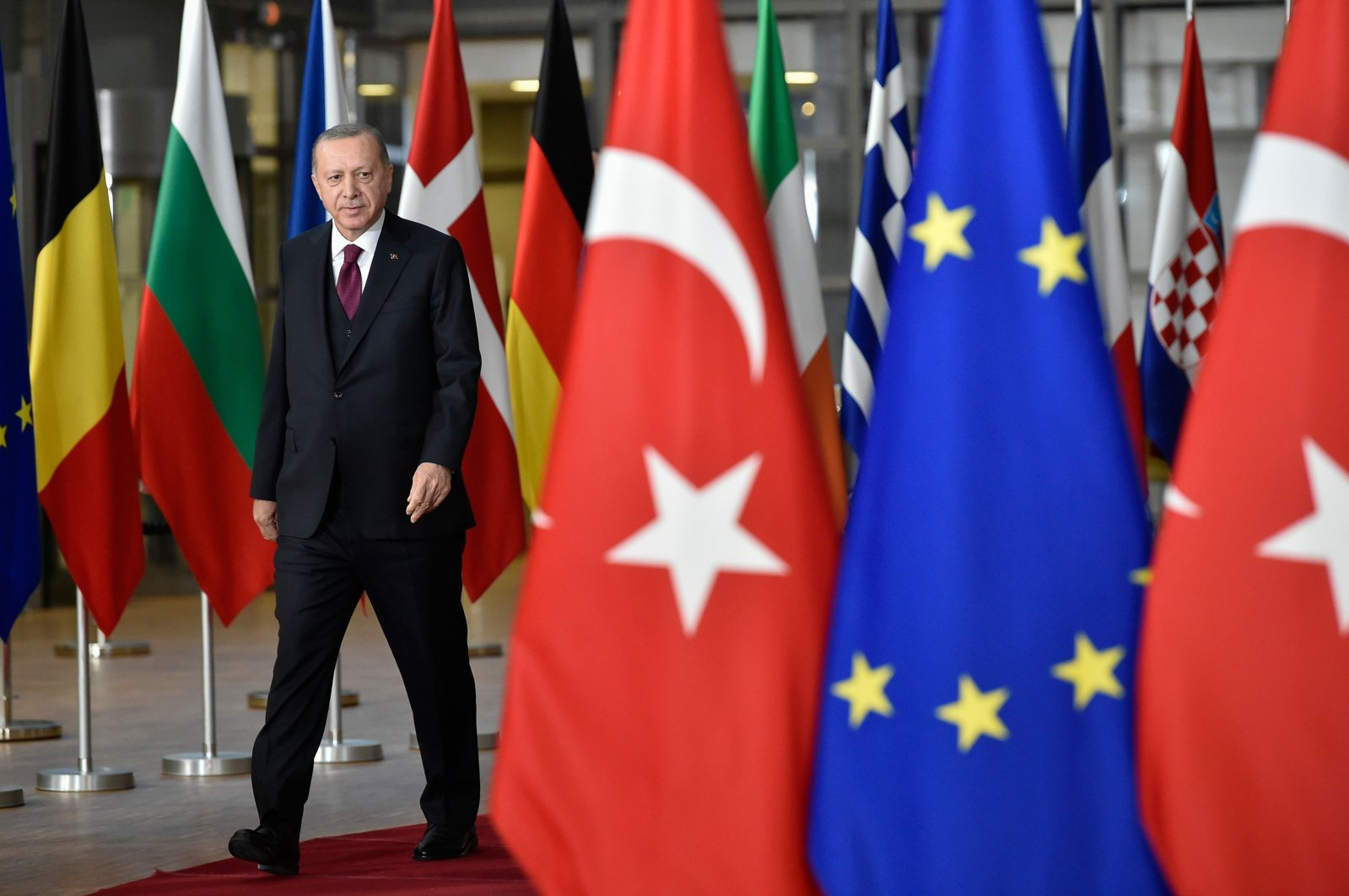 President Recep Tayyip Erdoğan arrives before a meeting with European Commission President Charles Michel, at the EU headquarters in Brussels, Belgium, March 9, 2020. (AFP Photo)