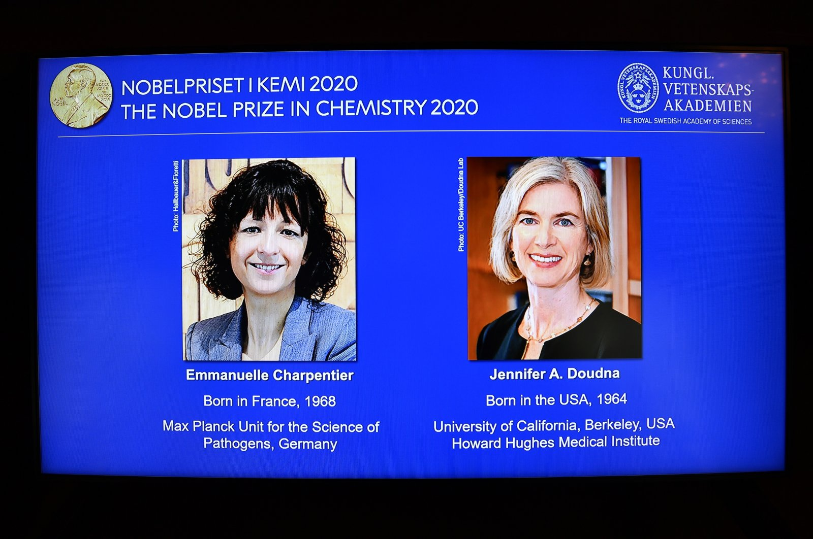 Photos of the winners of the 2020 Nobel Prize in Chemistry are displayed on a screen during a news conference at the Royal Swedish Academy of Sciences, in Stockholm, Sweden, Oct. 7, 2020. (EPA Photo)