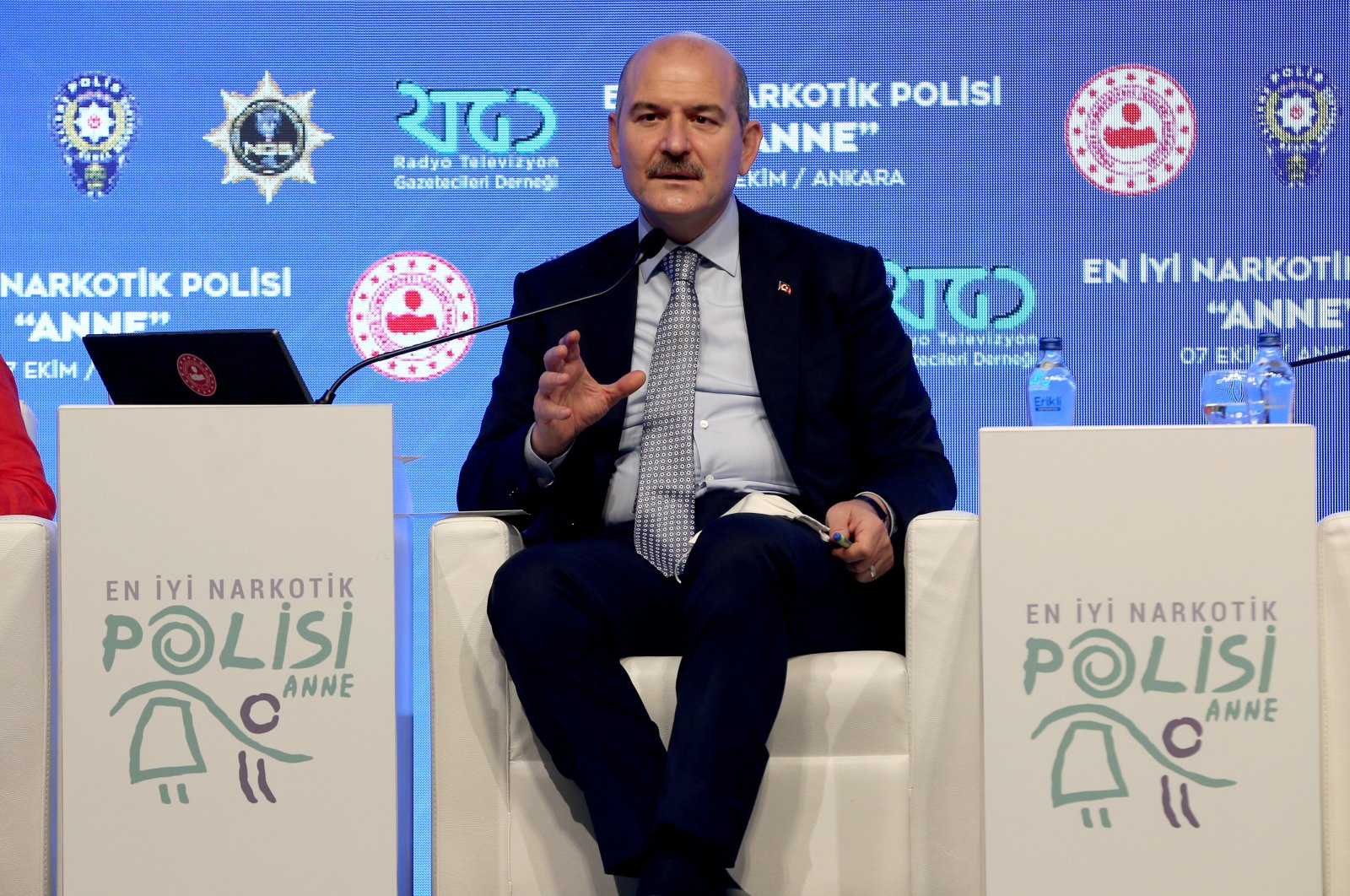 Süleyman Soylu speaks at an event on the project reaching out to the mothers of drug users, in the capital Ankara, Turkey, Oct. 7, 2020. (AA Photo)