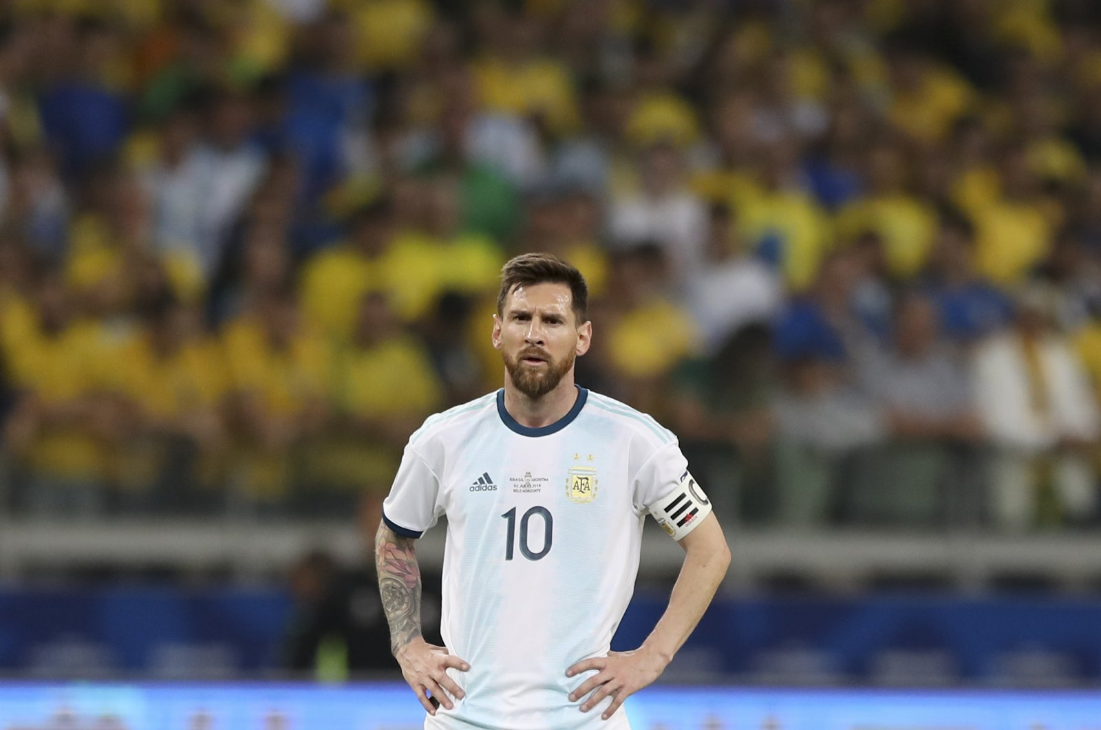 Argentina's Lionel Messi reacts during a Copa America match, in Belo Horizonte, Brazil, July 2, 2019. (AP Photo)