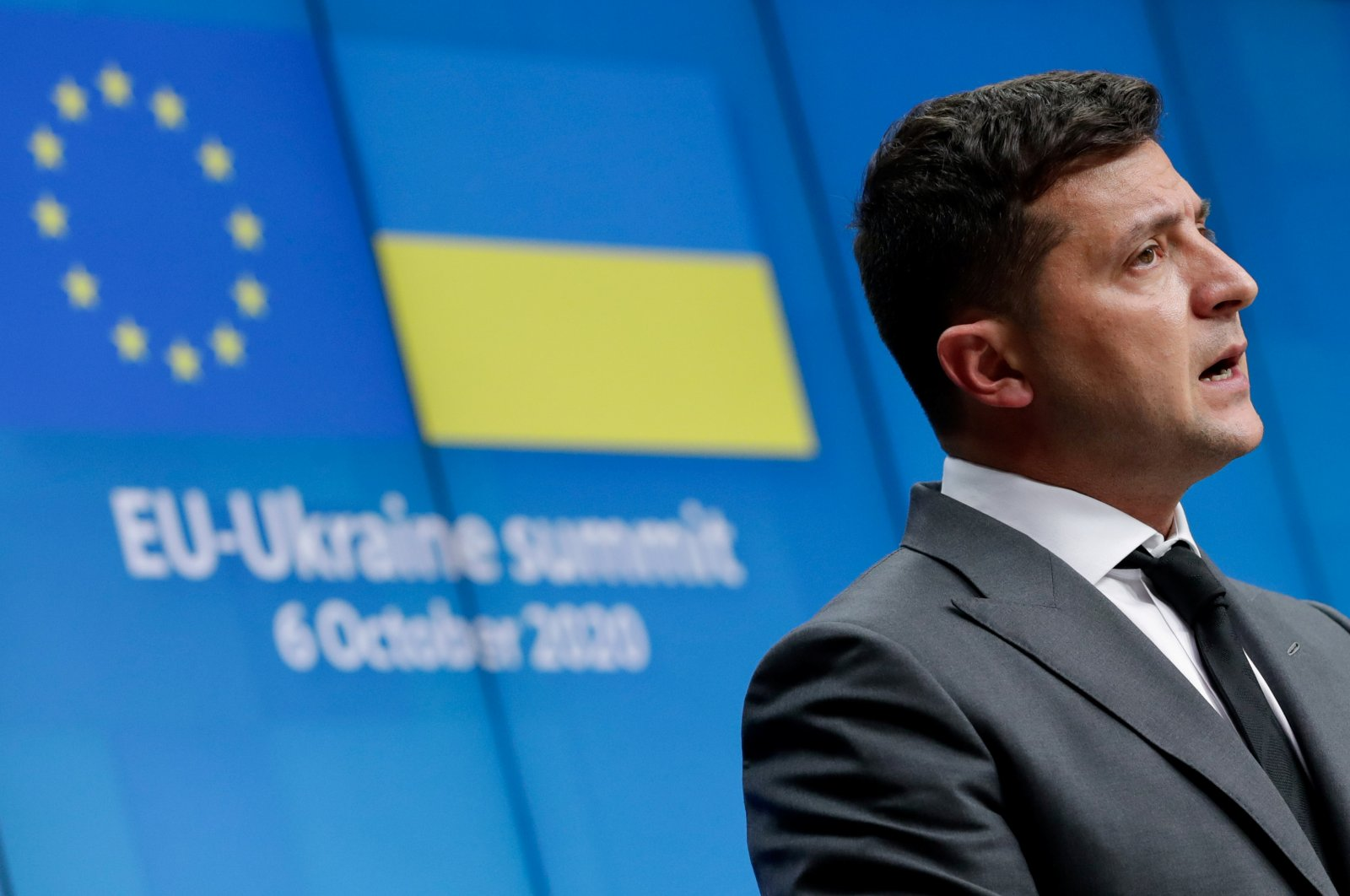 Ukrainian President Volodymyr Zelenskiy gives a press conference at the end of an EU-Ukraine Summit at the European Council in Brussels, Belgium, Oct. 6, 2020. (Reuters Photo)