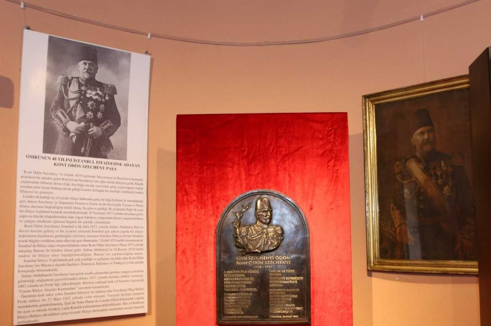 View of the plaque and portraits of Ödön Szechenyi at the museum, in Istanbul, Turkey, Oct. 7, 2020.