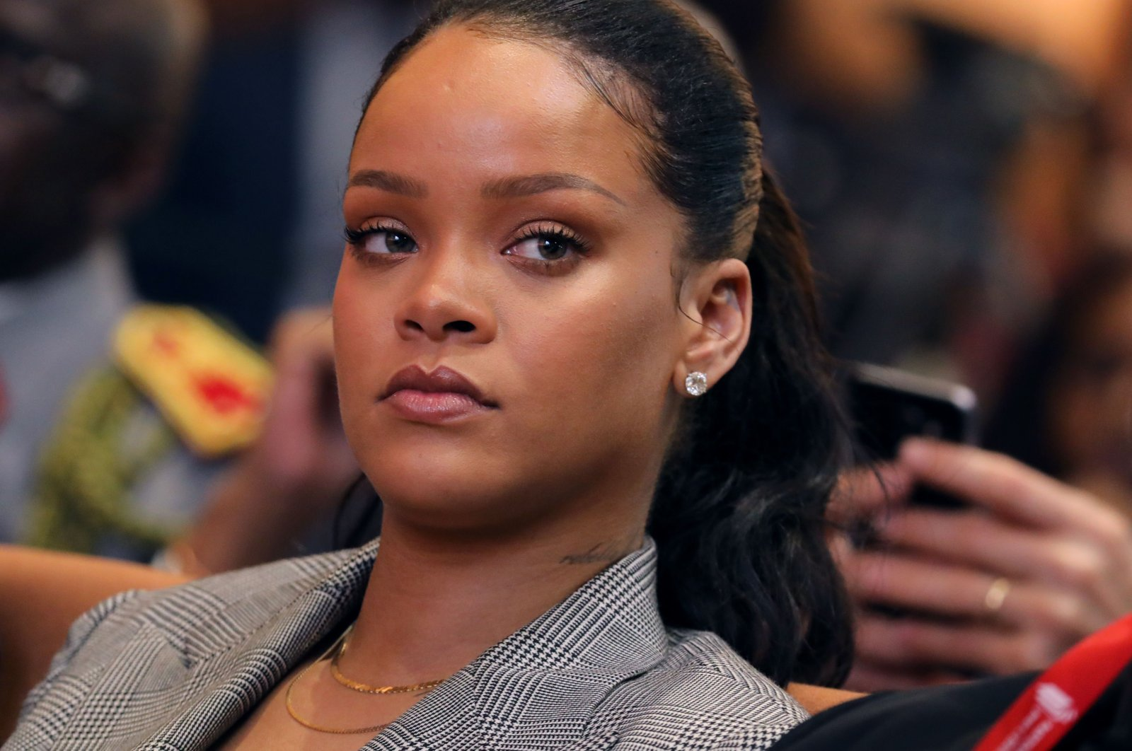 """Barbadian singer Rihanna attends the conference """"GPE financing conference, an investment in the future"""" organized by the global partnership for education in Dakar, Senegal, March 17, 2018. (AFP Photo)"""