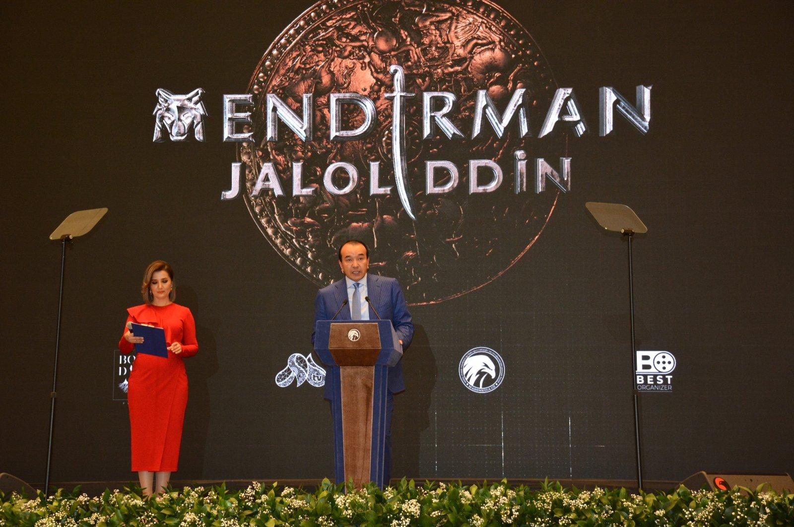 Uzbekistan Culture Minister Azadbek Nazarbekov speaks during the premiere of Jalal al-Din Khwarazmshah, Tashkenti Oct. 4, 2020. (AA Photo)