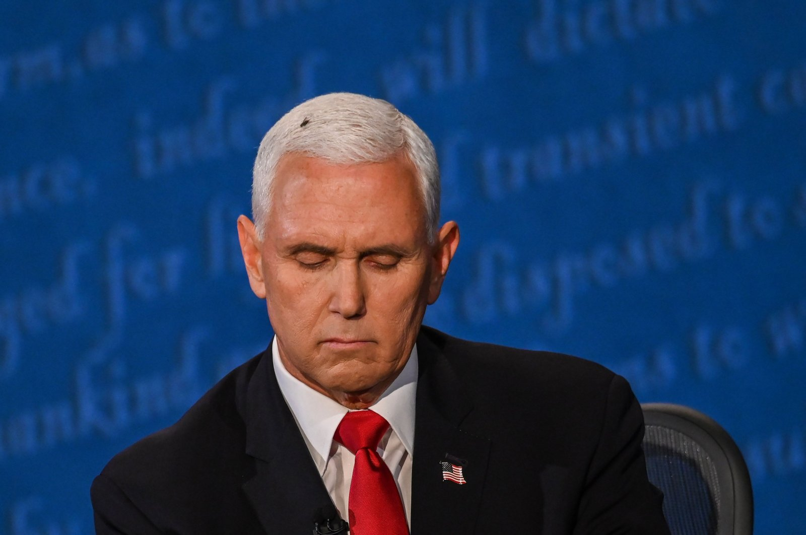 A fly rests on the head of U.S. Vice President Mike Pence as he takes notes during the vice presidential debate against Democratic vice presidential nominee and Senator from California Kamala Harris in Kingsbury Hall at the University of Utah, in Salt Lake City, Utah, Oct. 7, 2020. (AFP Photo)