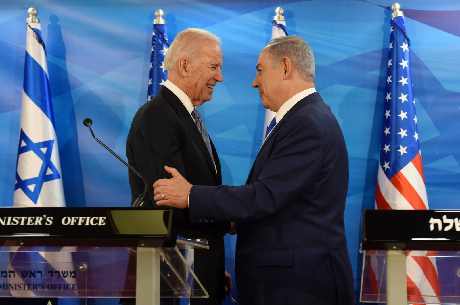 Then-U.S. Vice President Joe Biden and Israeli Prime Minister Benjamin Netanyahu shake hands while giving joint statements in the prime minister's office in Jerusalem, Israel, March 9, 2016. (AP Photo)