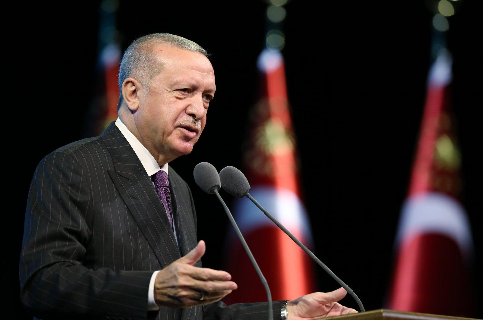 President Recep Tayyip Erdoğan speaks at the Beştepe National Congress and Cultural Center in the capital Ankara, Turkey, Oct. 6, 2020. (AA Photo)