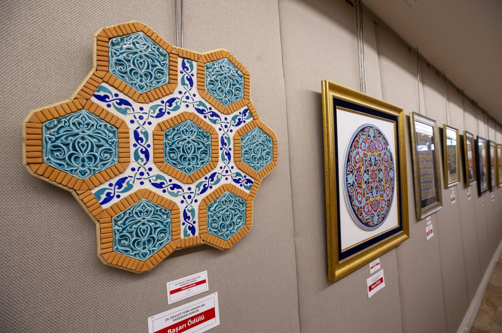 Some works on display at the exhibition of the competition at the National Library, the capital Ankara, Turkey, Oct. 7, 2020. (AA PHOTO)