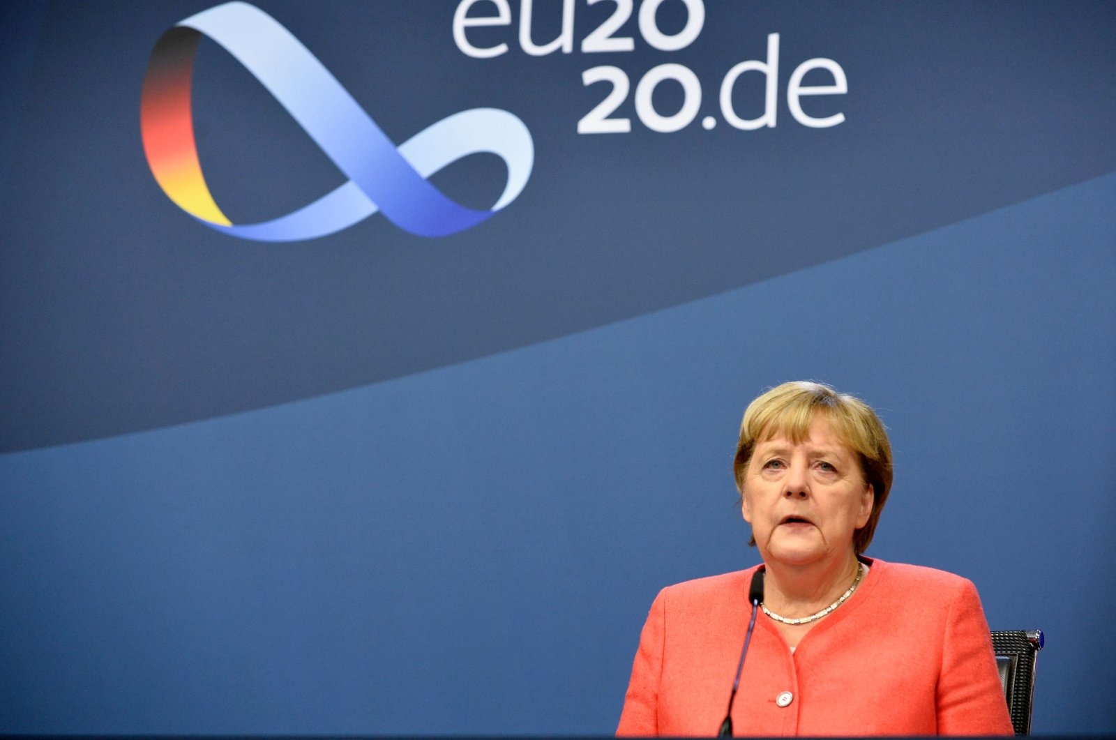 German Chancellor Angela Merkel gives a news conference on the second day of a European Union (EU) summit at the European Council building in Brussels, Belgium, Oct. 2, 2020. (AFP Photo)