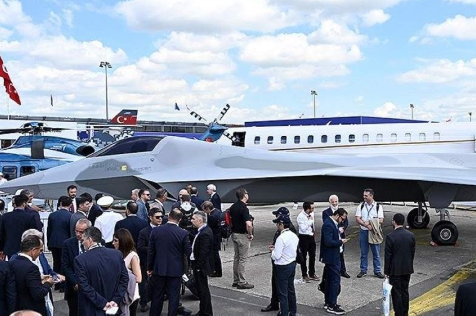 A mock-up of Turkey's first domestically built national combat aircraft was unveiled at the Paris Air Show held between June 17-23, 2019, Paris, France. (AA Photo)