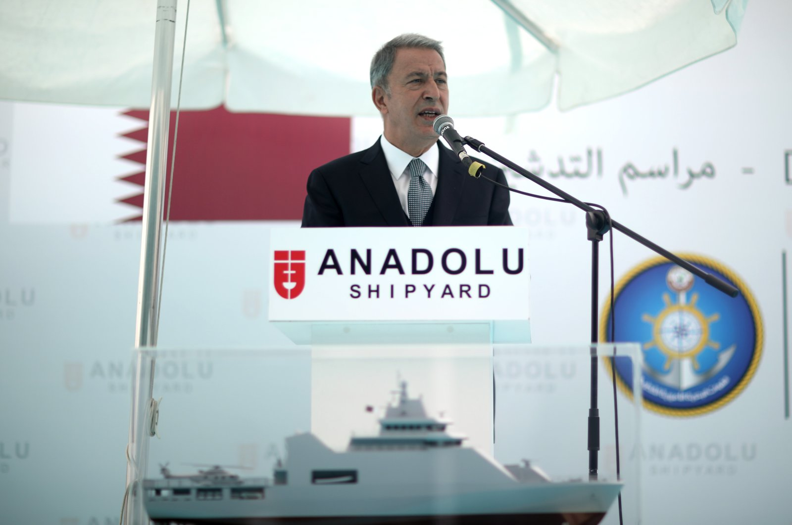 Defense Minister Hulusi Akar speaks at an event in Istanbul, Turkey, Oct. 8, 2020. (AA Photo)