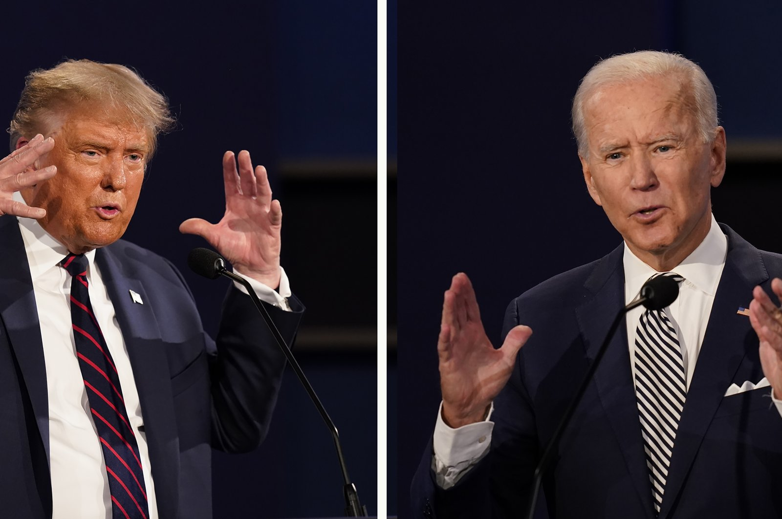 U.S. President Donald Trump (L) and former Vice President Joe Biden during the first presidential debate at Case Western University and Cleveland Clinic, in Cleveland, Ohio, U.S., Sept. 29, 2020. (AP Photo)