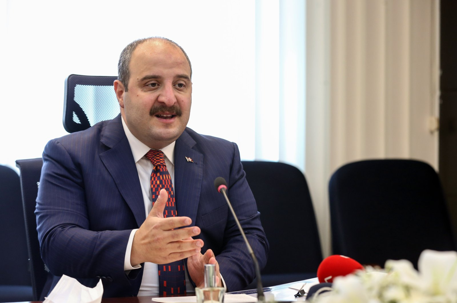 Industry and Technology Minister Mustafa Varank attends a videoconference call at the Ministry of Industry and Technology in Ankara, Turkey, Oct. 2, 2020. (DHA Photo)