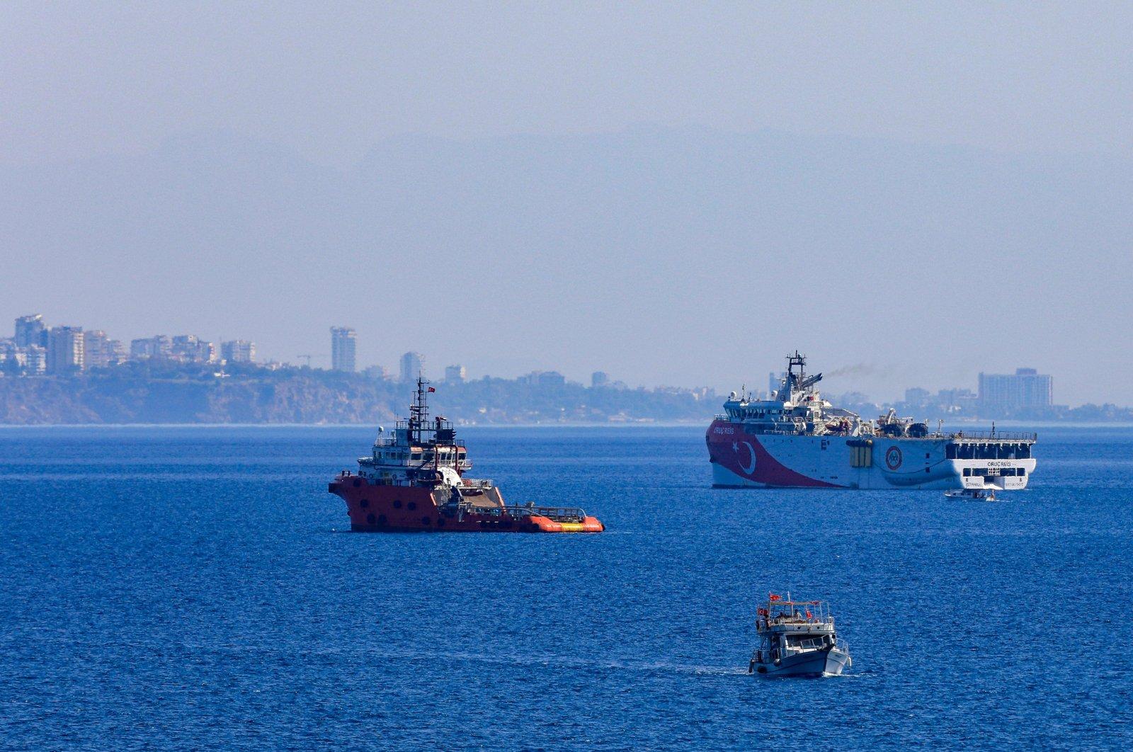 Turkey's drilling vessel Oruç Reis leaves the port of Antalya, Turkey, Oct. 4, 2020. (DHA Photo)