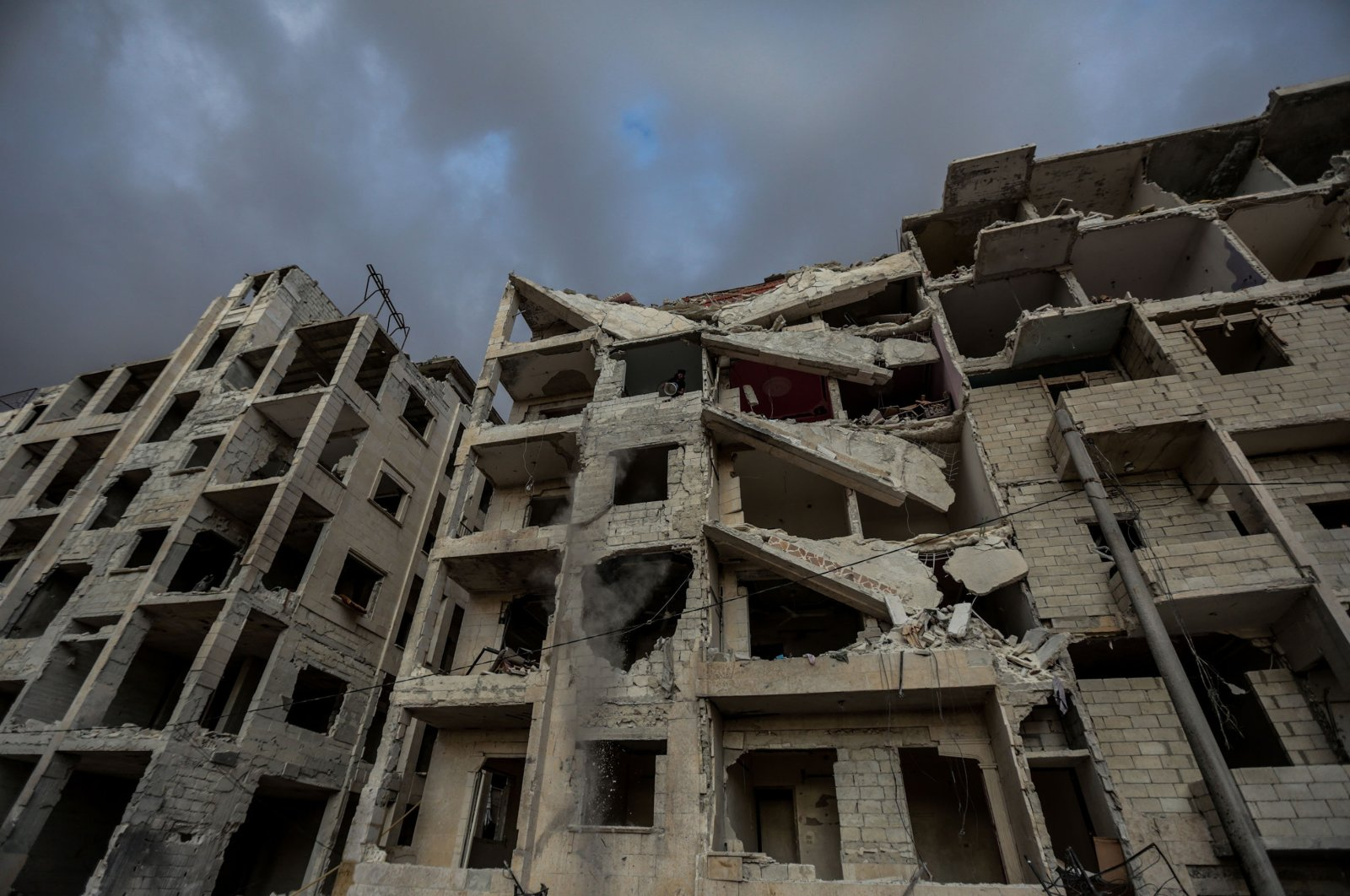 Damaged buildings in Syria's northwestern Idlib bear the signs of the almost decadelong war in the country, March 11, 2020. (Photo by Uğur Yıldırım/Sabah)