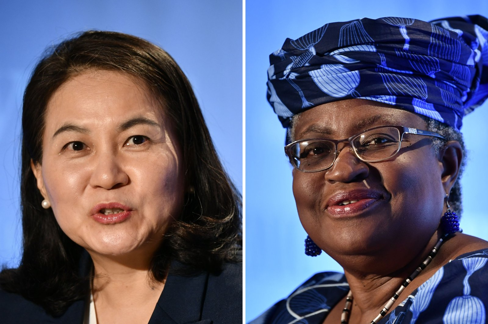 This combination of file photos created on Oct. 7, 2020, shows South Korean Trade Minister Yoo Myung-hee (L) in Geneva, Switzerland, on July 16, 2020; and Nigerian former Foreign and Finance Minister Ngozi Okonjo-Iweala (R) in Geneva, Switzerland, July 15, 2020, as they give news conferences as part of their application process to head the World Trade Organization as director general. (AFP Photo)