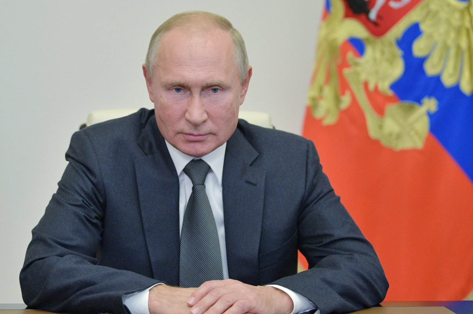 Russian President Vladimir Putin attends a meeting with Chief of the Russian Armed Forces' General Staff Valery Gerasimov, via a video conference call at the Novo-Ogaryovo state residence, outside Moscow, Russia on Oct. 7, 2020. (Reuters Photo)