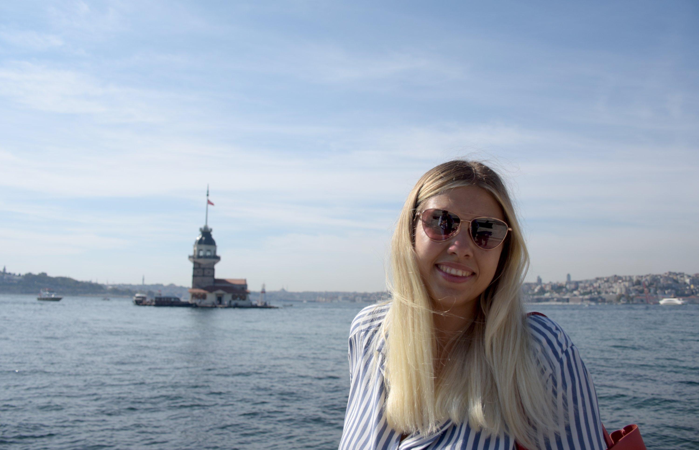 Anjelika Shcherbakova poses near Maiden's Tower in Istanbul, Turkey, Oct. 8, 2020. (AA Photo)