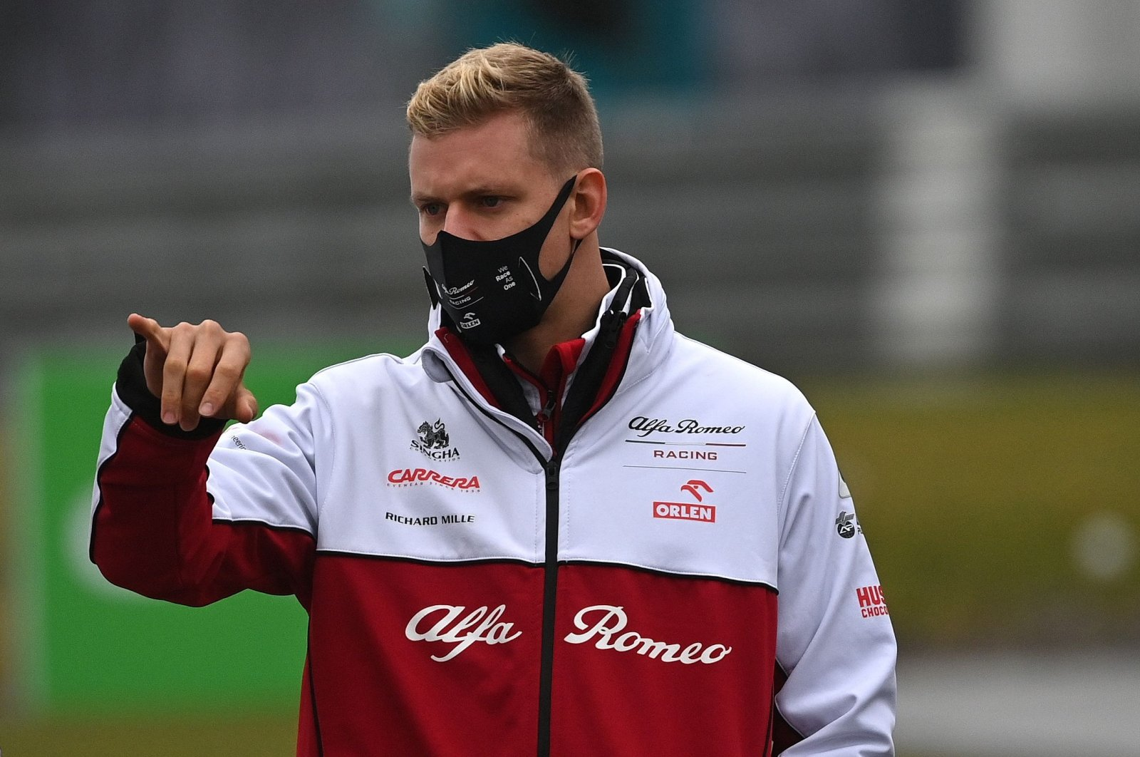 Alfa Romeo driver Mick Schumacher inspects the circuit ahead of F1 Eifel Grand Prix, in Nurburg, Germany, Oct. 8, 2020. (AFP Photo)