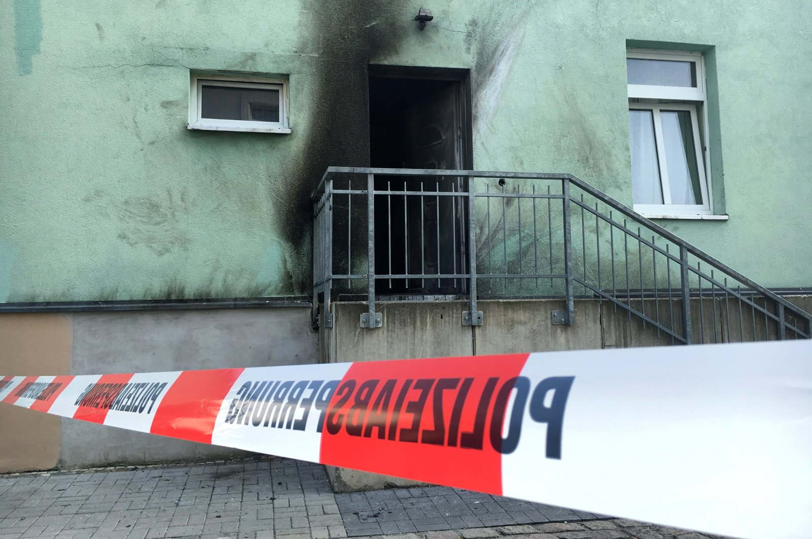 This undated photo shows a mosque in Dresden, one day after an improvised bomb destroyed the entrance, Germany. (Reuters Photo)