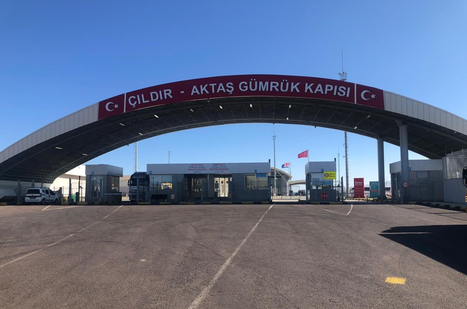 Aktaş Border Gate shut down amid Turkish vehicles faced harassment from Armenian locals across the border in Georgia, Oct.9, 2020. (IHA)