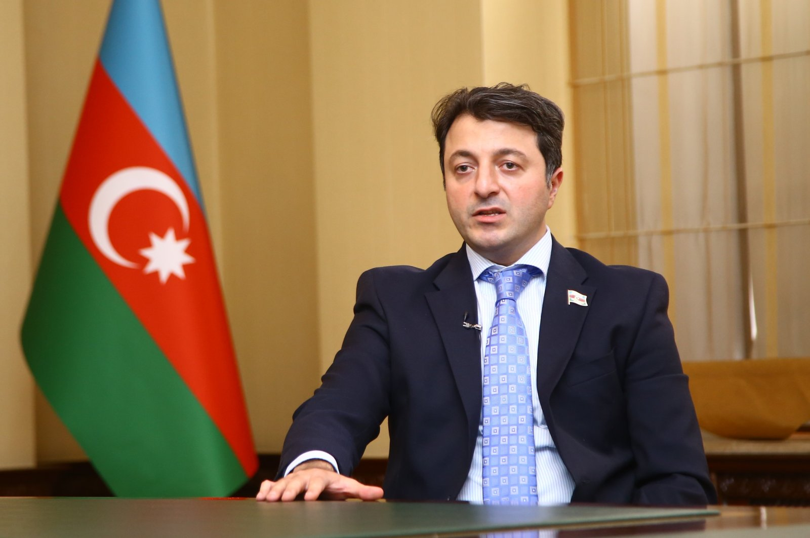 Tural Ganjaliyev, head of the Azerbaijani community of the Nagorno-Karabakh region, speaks in an interview with Anadolu Agency (AA), Oct. 9, 2020. (AA Photo)