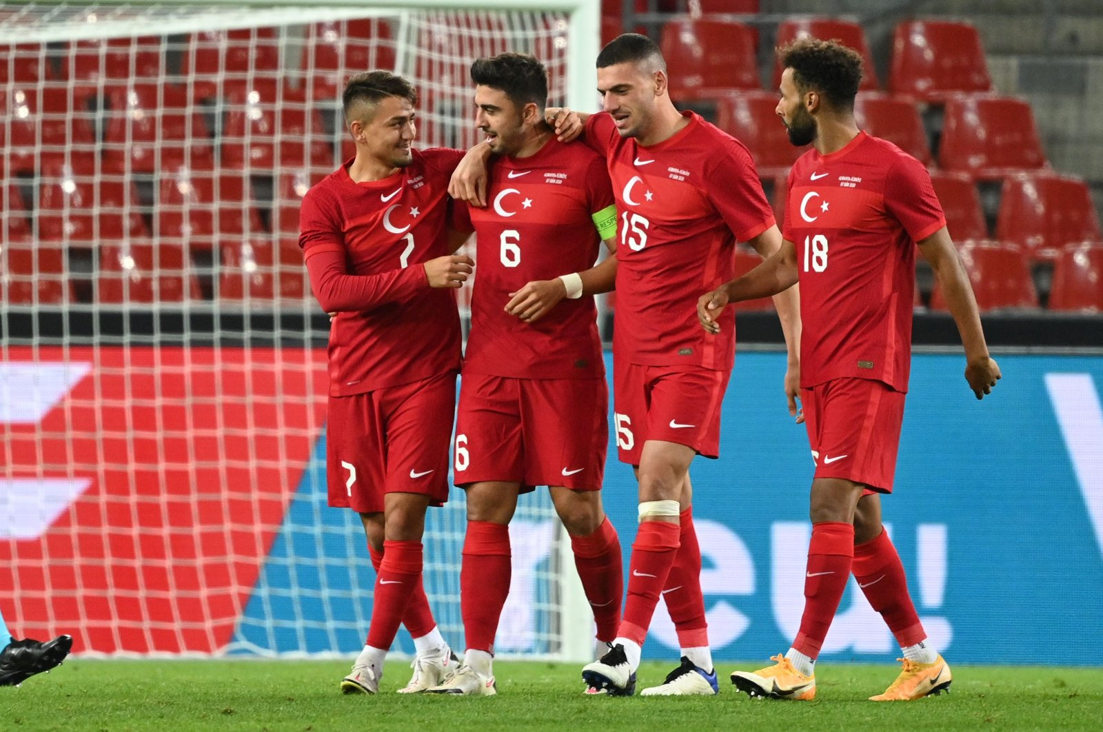 Turkey players celebrate a goal during a friendly match against Germany, in Cologne, Germany, Oct. 7, 2020. (AFP Photo)