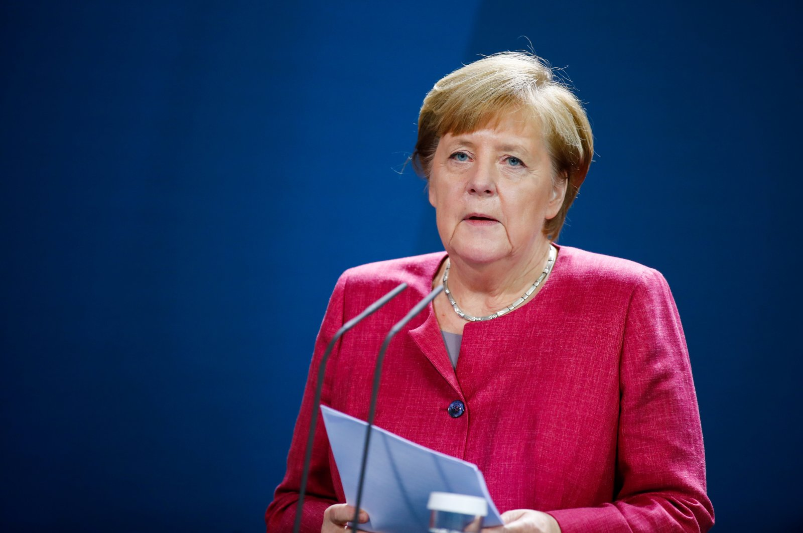 German Chancellor Angela Merkel gives a media statement after a videoconference with mayors of German cities, Berlin, Germany, Oct. 9, 2020. (Reuters Photo)