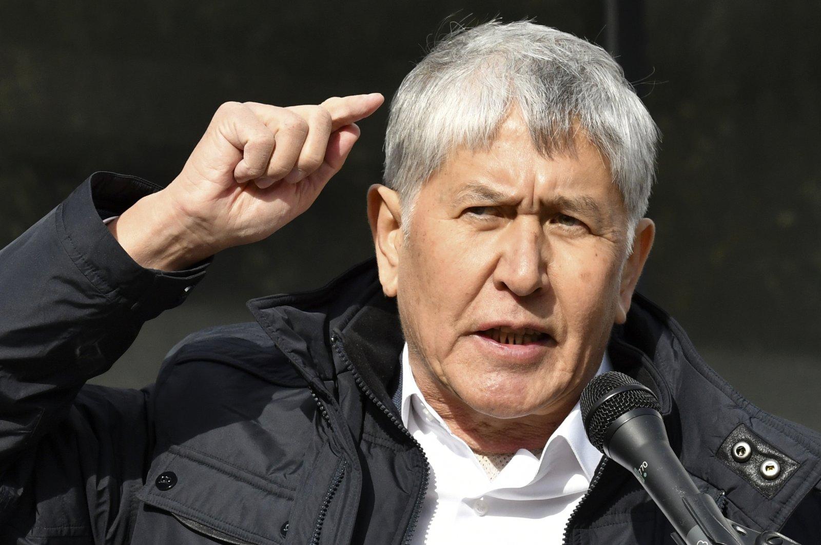 Former President Almazbek Atambayev speaks to his supporters during a rally in Bishkek, Kyrgyzstan, Friday, Oct. 9, 2020. (AP Photo)