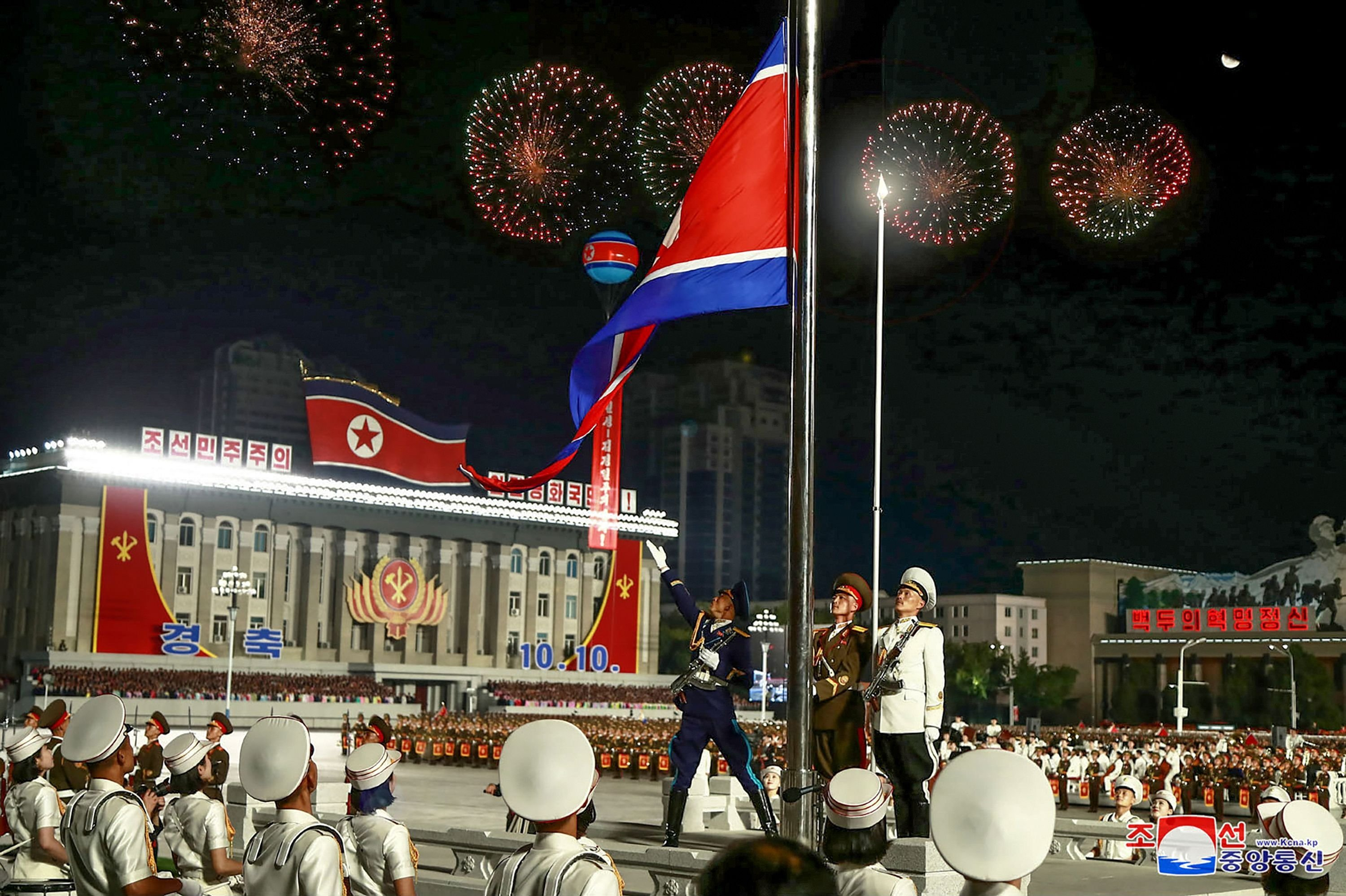 North Korea's official Korean Central News Agency (KCNA) shows the military parade during a ceremony to mark the 75th anniversary of the Workers' Party of Korea at Kim Il-sung Square of Pyongyang, Oct. 10, 2020. (Photo by - / KCNA VIA KNS / AFP)