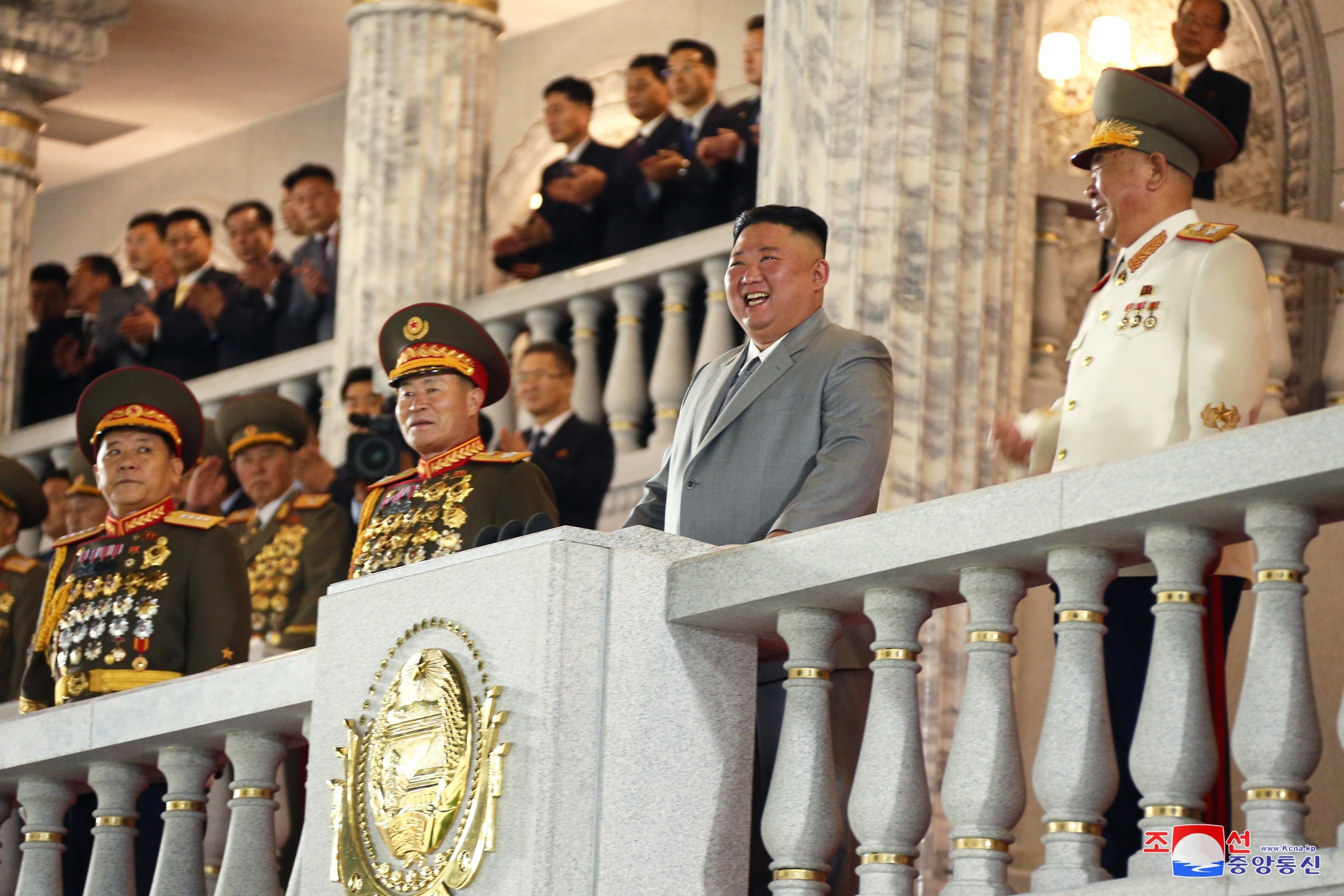 A photo released by the official North Korean Central News Agency (KCNA) shows North Korean leader Kim Jong Un (2-R) during a military parade on the occasion of the 75th founding anniversary of the Workers' Party of Korea, at Kim Il Sung Square in Pyongyang, North Korea, Oct. 10, 2020. (Photo by KCNA VIA EPA)