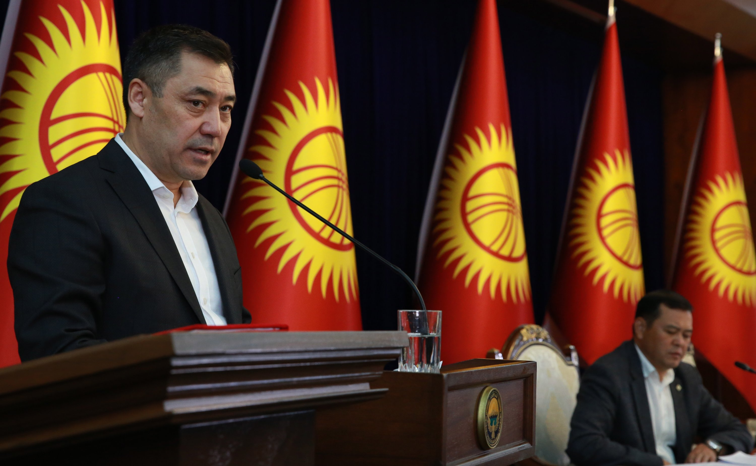 Candidate for the position of Acting Prime Minister of Kyrgyzstan, Sadyr Zhaparov, at an extraordinary session of the parliament at the Ala-Archa residence in Bishkek, Kyrgyzstan, Oct. 10, 2020. (EPA Photo)