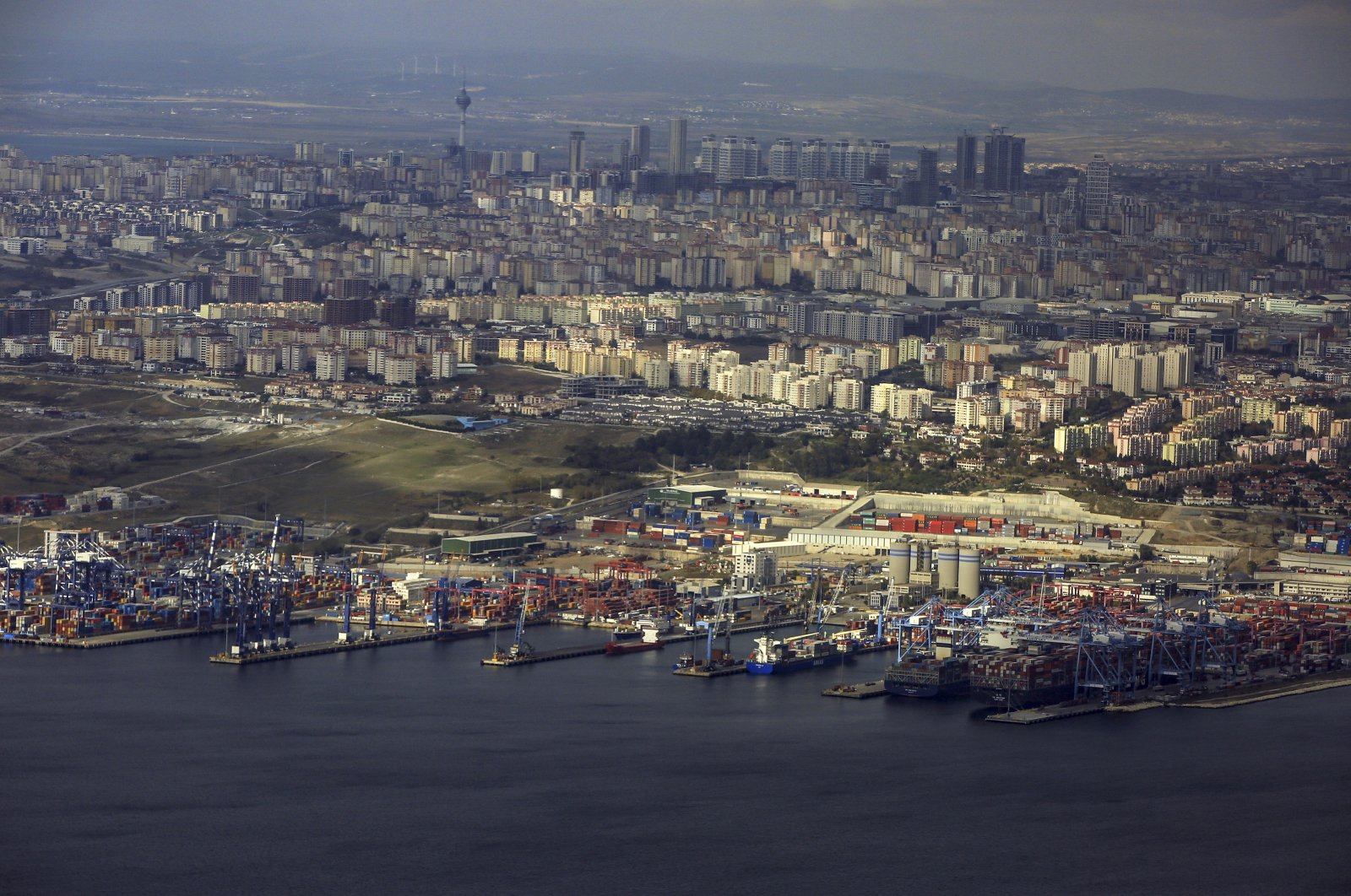 An aerial view of the European side of Istanbul with the Ambarlı port in the foreground, the biggest port in Turkey, Nov. 9, 2018. (AP Photo)