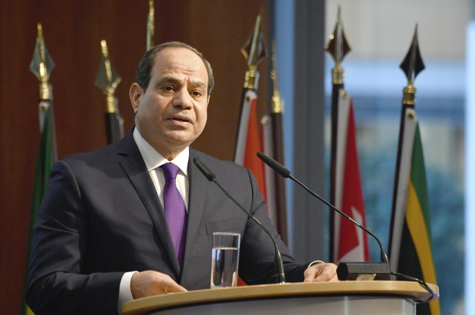 Egypt's President Abdel-Fattah el-Sissi speaks at the G-20 Investment Summit, Nov. 19, 2019. (AP Photo)