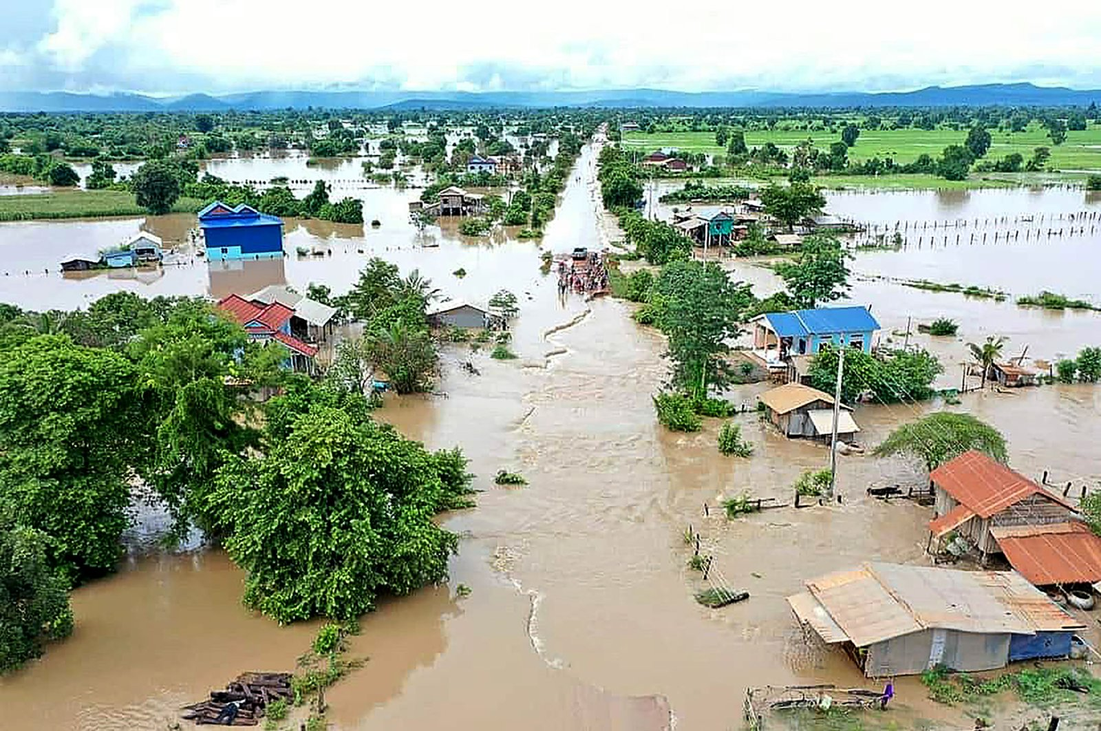This aerial photo shows a flooded village in Cambodia's western Battambang province, following heavy rains in the region, Oct. 10, 2020. (AFP Photo)