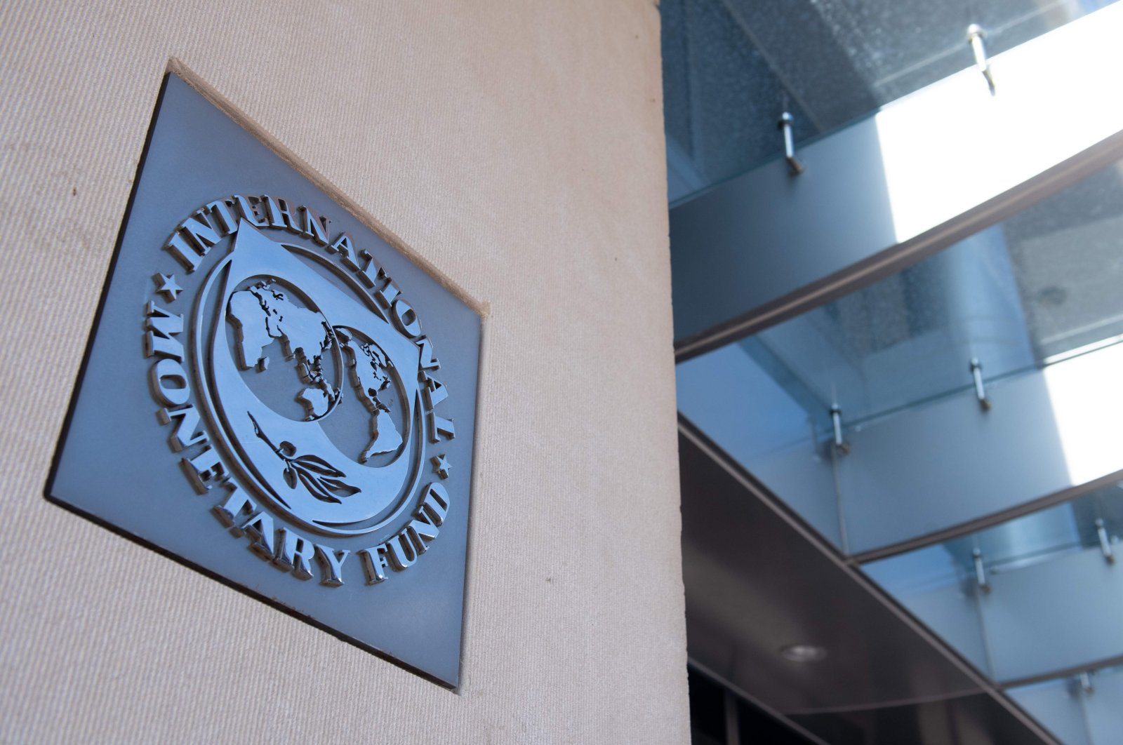 A sign is seen outside the headquarters of the International Monetary Fund (IMF) as the IMF and World Bank hold their spring meetings virtually due to the outbreak of COVID-19, in Washington, D.C., April 15, 2020. (AFP Photo)