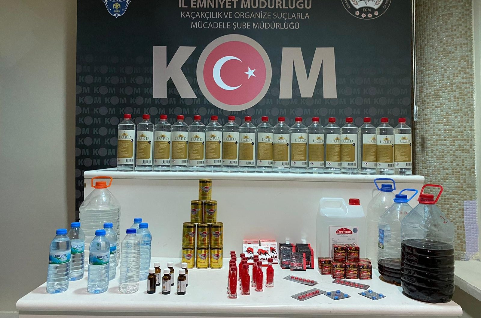 Police display bootleg alcohol seized in operations in Kırıkkale, central Turkey, Oct. 9, 2020. (AA Photo)