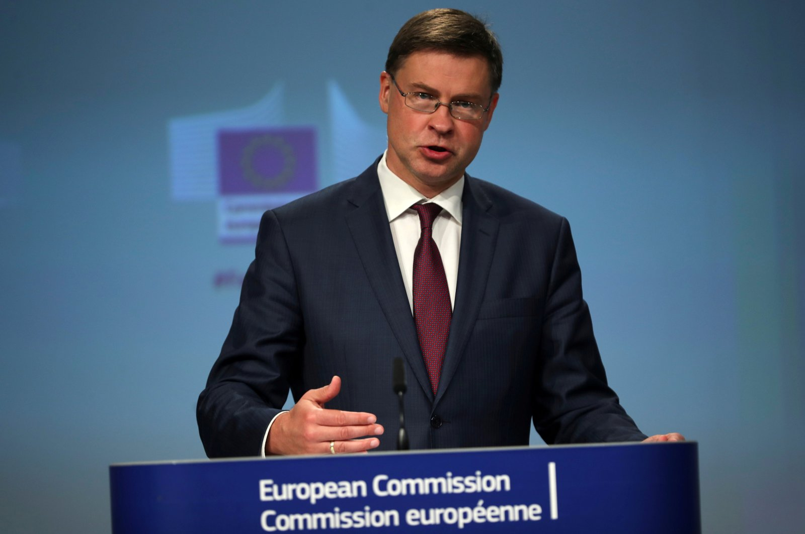 European Commission Vice-President Valdis Dombrovskisaddresses the media on EU's anti-fraud package during a news conference in Brussels, Belgium, July 15, 2020. (Reuters Photo)