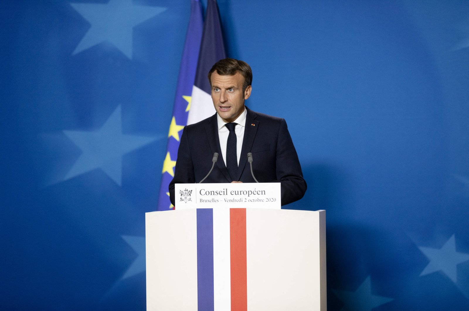 French President Emmanuel Macron speaks at the end of the first day of an EU summit, in Brussels, Belgium, Oct. 2, 2020. (Reuters Photo)