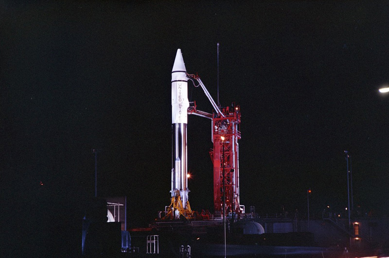 This file photo provided by the San Diego Air and Space Museum shows an Atlas Centaur 7 rocket on the launchpad at Cape Canaveral, Florida, U.S. on Sept. 20, 1966. (AP Photo)
