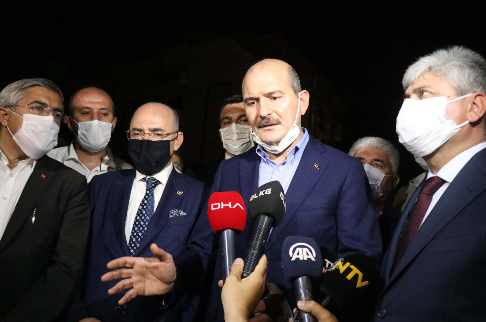 Interior Minister Süleyman Soylu (C) speaks to reporters in Hatay on Oct. 11, 2020. (AA Photo)