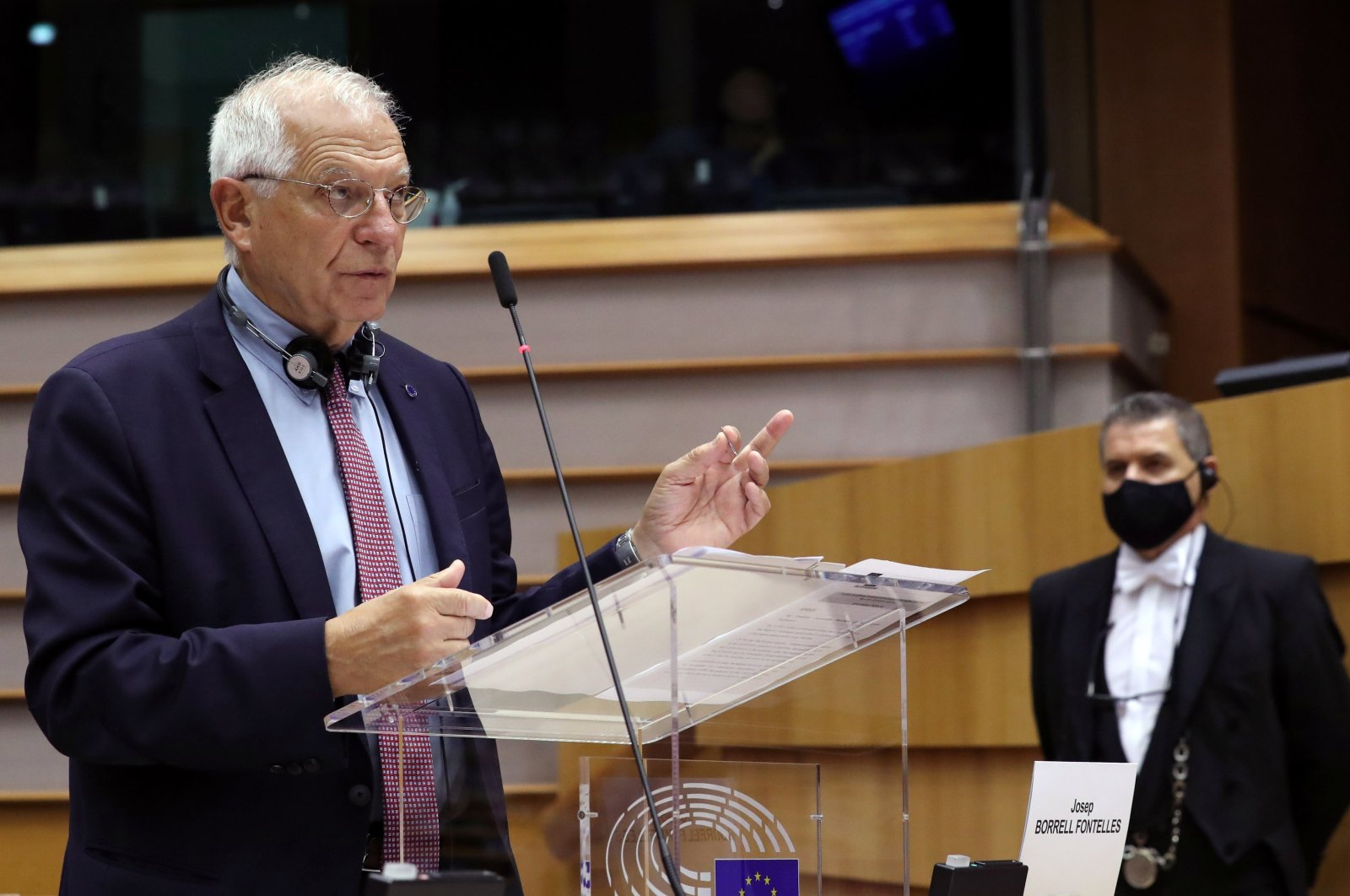 EU foreign policy chief Josep Borrell attends a plenary session of the European Parliament in Brussels, Belgium on Oct. 7, 2020. (Reuters Photo)