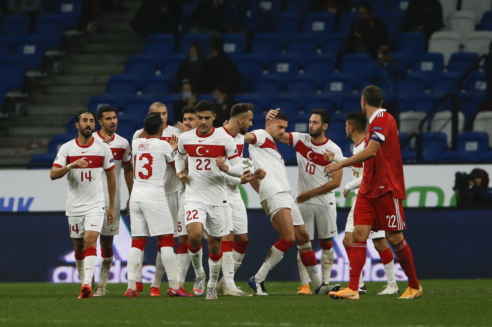 Turkish national football team celebrates scoring against Russia in a UEFA Nations League match at VTB Arena in Moscow, Russia, Oct. 11, 2020. (AA Photo)